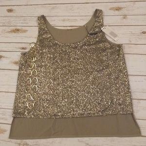 BNWT Elie Tahari Gold Sequins Blouse